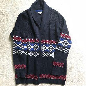 Merona Fair Isle cardigan sweater navy red medium